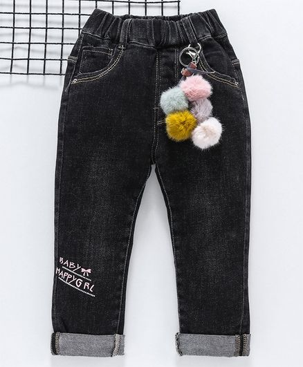 Kookie Kids Full Length Jeans Baby Girl Print - Black