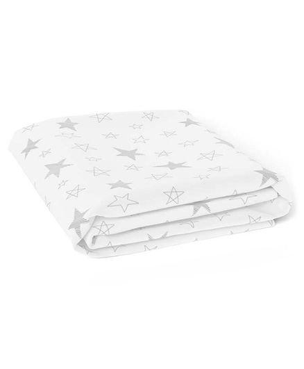 The White Cradle Pure Organic Cotton Printed Crib Sheet - White Grey