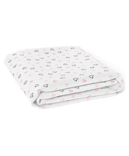 The White Cradle Organic Cotton Fitted Crib Sheet Heart Print - White