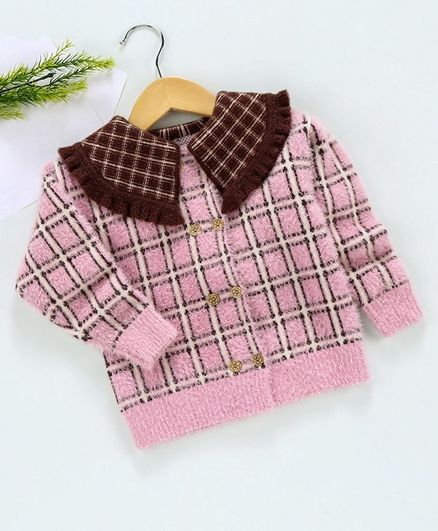 Kookie Kids Full Sleeves Checks Sweater - Pink