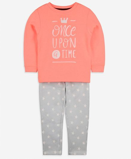 Cherry Crumble by Nitt Hyman Once Upon A Time Print Full Sleeves Tee With Bottom - Pink & Grey