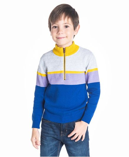 Cherry Crumble by Nitt Hyman Color Block Mock Neck Full Sleeves Sweater - Royal Blue & Mustard