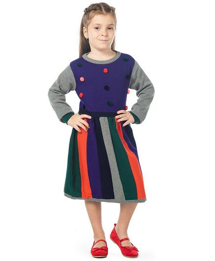 Cherry Crumble by Nitt Hyman Pom Pom Detailed Full Sleeves Striped Sweater Dress - Multi Color