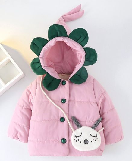 Kookie Kids Full Sleeves Hooded Padded Jacket - Pink