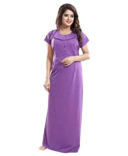 Fabme Self Striped Half Sleeves Maternity Nighty - Purple