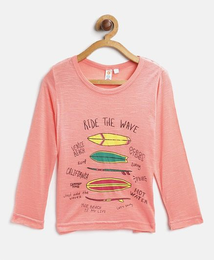Kids On Board Ride The Wave Print Full Sleeves Tee - Light Peach