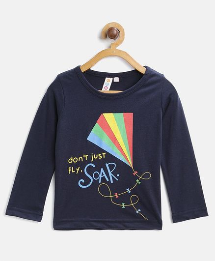 Kids On Board Full Sleeves Quote Print Tee - Navy Blue
