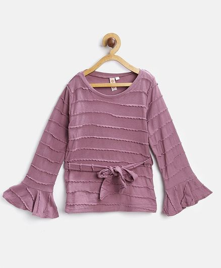 Kids On Board Full Sleeves Self Design Belt Style Top - Purple