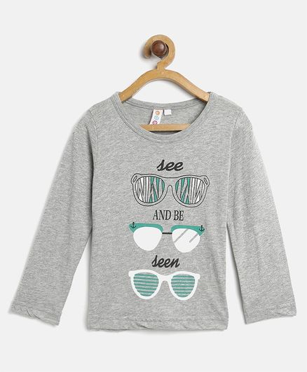 Kids On Board Full Sleeves See And Be Seen Printed Tee - Grey