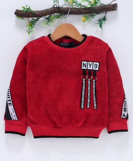 Noddy Side Tape Detailed Full Sleeves Sweater - Red