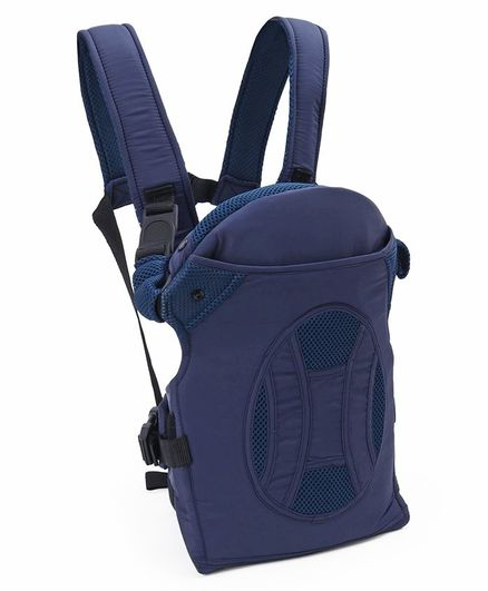 4 Ways Comfort Baby Carrier With Adjustable Hood And Wide Shoulder Straps - Blue
