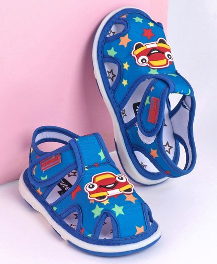 Cute Walk by Babyhug Closed Toe Sandals Car Patch - Blue