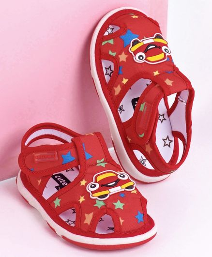 Cute Walk by Babyhug Closed Toe Sandals Car Patch - Red