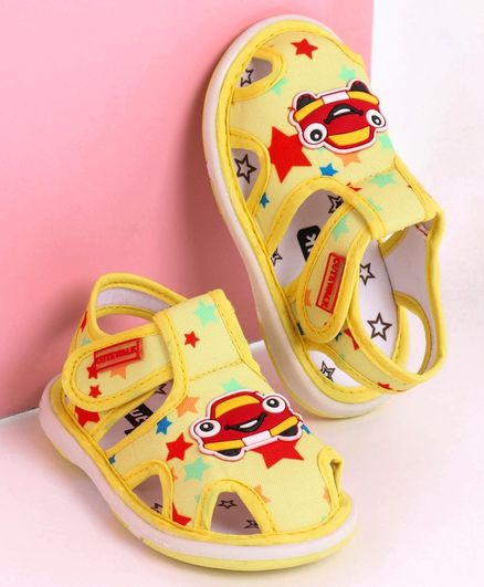 Cute Walk by Babyhug Closed Toe Sandals Car Patch - Yellow