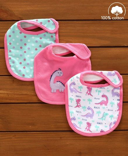 Babyhug Cotton Bibs Dinosaur Embroidery Set of 3 - Pink & White