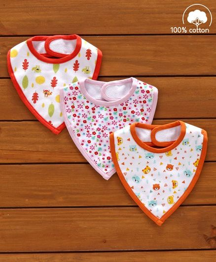 Babyhug Cotton Bibs Floral Print Set of 3 - Multicolor