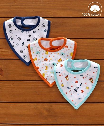 Babyhug Cotton Bibs Space Print Set of 3 - White