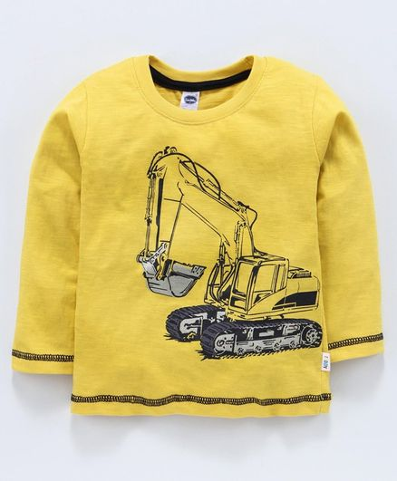 Teddy Full Sleeves T-Shirt Vehicle Print - Yellow