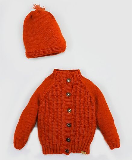 Knitting By Love Full Sleeves Self Design Sweater With Cap - Red