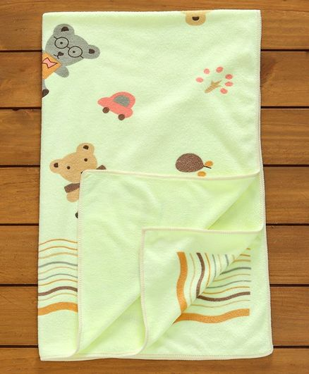 Mee Mee Teddy Bear Print Baby Towel - Green