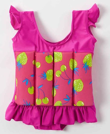 Kookie Kids Flutter Sleeves Swim Float Fruit Print - Pink