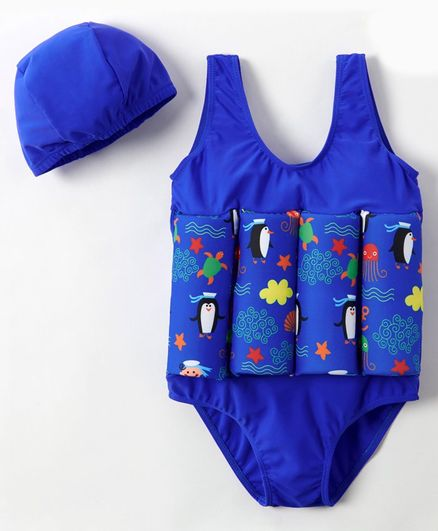 Babyhug Sleeveless Swimming Float with Cap Animal Print - Blue