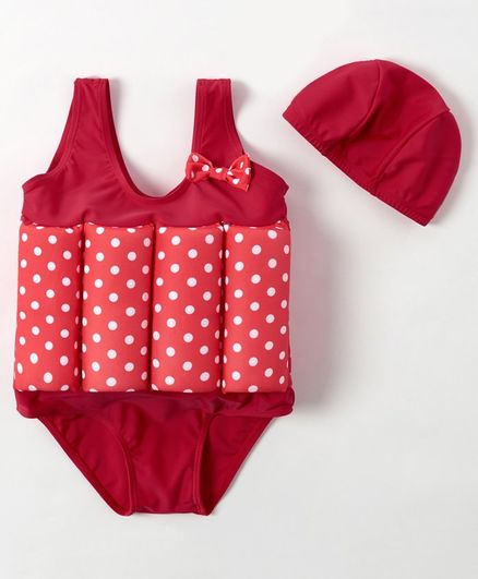 Babyhug Sleeveless Swimming Float with Cap Polka Dot Print - Red