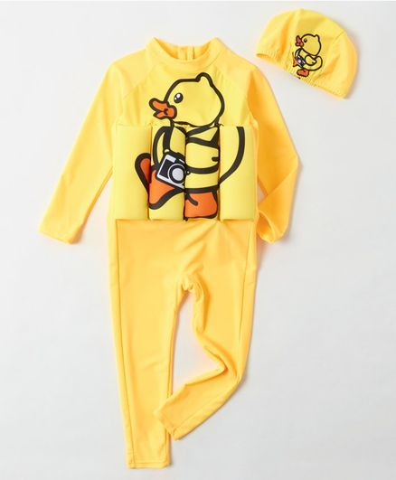 Babyhug Full Sleeves Swimming Float with Cap Duck Print - Yellow