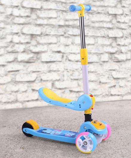 Babyhug 2 in 1 Kids Scooter with LED Lights - Blue Yellow