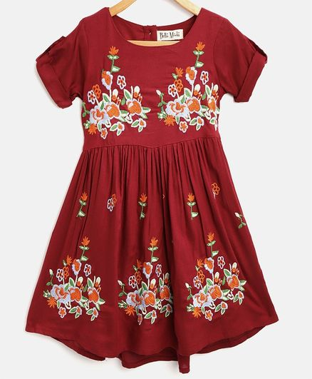 Bella Moda Floral Embroidered Half Sleeves Dress - Maroon