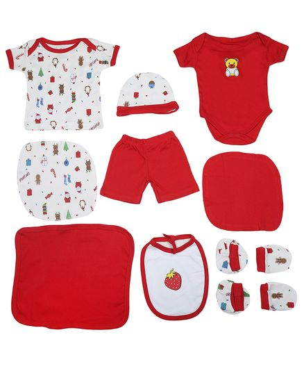 VParents Honey Punch New born Baby Gift Set Red - Pack of 10