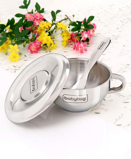 Babyhug Double Wall Stainless Steel Feeding Bowl Set with Spoon - 3 Pieces