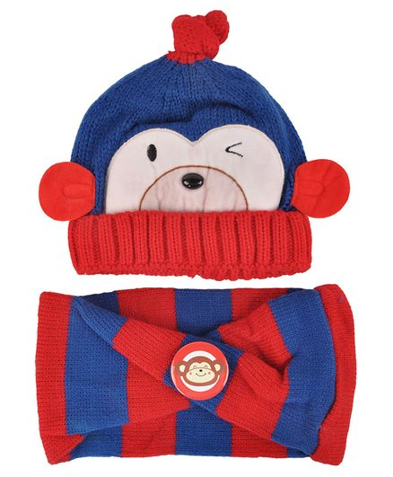 Yellow Bee Cap And Muffler Set - Blue Red
