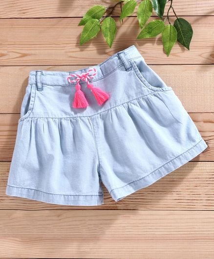 Babyhug Elasticated Waist Denim Shorts - Blue