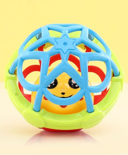 Colorful Ball Rattle Toy With Smiley Ball Blue - Circumference 29 cm