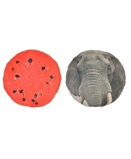 Deals India 3D Creative Squishy Pillow Back Cushion set of 2 Grey Red - 35 cm