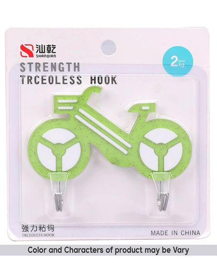 2 In 1 Cycle Shaped Wall Hook - Green