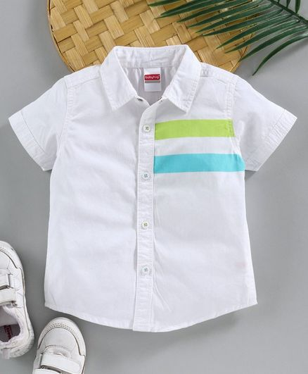 Babyhug Half Sleeves Shirt Striped - White
