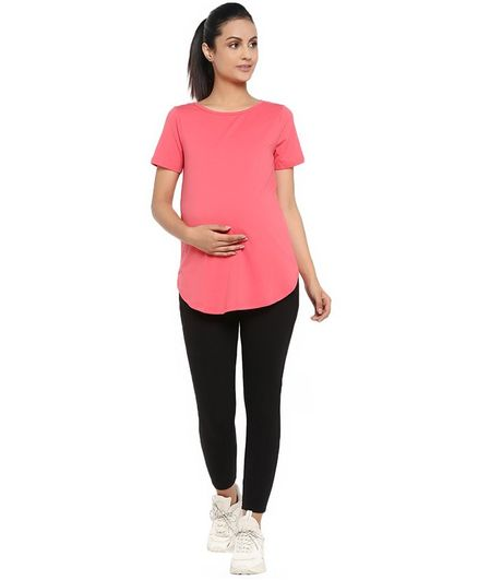 Wobbly Walk Solid Half Sleeves Maternity Tee & Over Belly Legging Set - Peach
