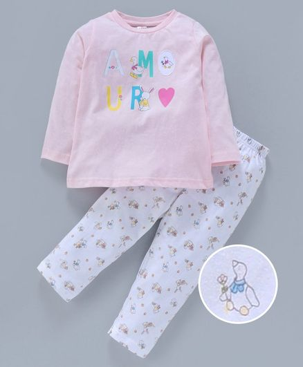 Zero  Full Sleeves Night Wear Duck Print - Pink White