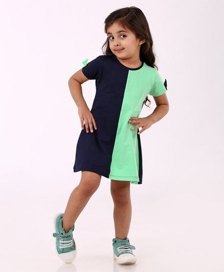 Babyhug Half Sleeves Frock - Green Navy Blue