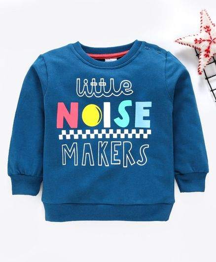 Babyhug Full Sleeves Sweatshirt Noise Print - Blue