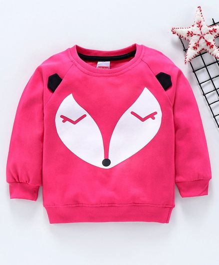 Babyhug Full Sleeves Sweatshirt Animal Print - Fuchsia