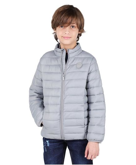 One Friday Solid Full Sleeves Padded Jacket - Grey