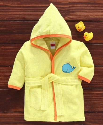 Babyhug Three Fourth Sleeves Hooded Bathrobe Whale Embroidery - Yellow