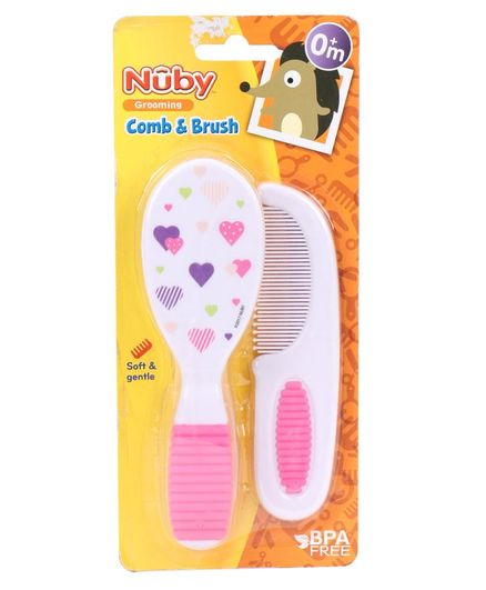 Nuby Comb & Brush Set Heart Print - Pink & White