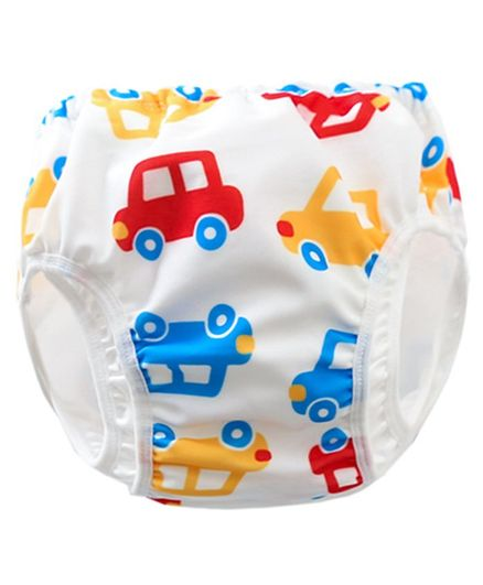 Kookie Kids Swim Diaper Car Print - White