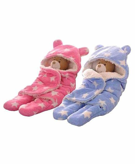 Zoe Double Layer Hooded Wearable Blankets  Star Print Pack of 2 - Pink & Blue