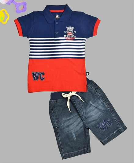 Crazy Penguin Half Sleeves Striped Tee & Denim Shorts Set - Blue