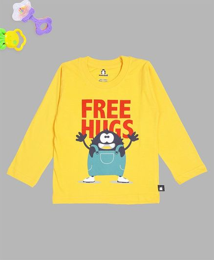 Crazy Penguin Free Hugs Printed Full Sleeves Tee - Yellow